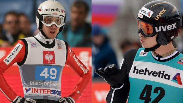 Simon Ammann (l.) und Gregro Deschwanden möchten auf der Normalschanze zu Medaillen fliegen.