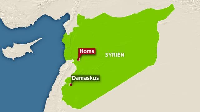 Syrien-Karte mit Damaskus im Südwesten und Homs im Westen.