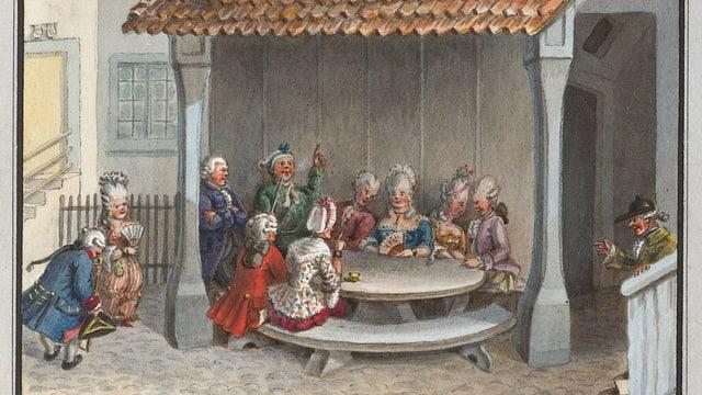 Menschen in eleganter Kleidung und fröhlicher Stimmung sitzen an einem runden Tisch.