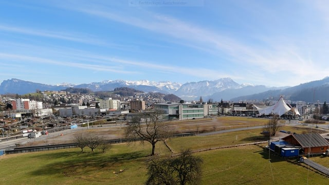 Das Areal Mattenhof in Luzern-Süd, wo die neue Saalsporthalle entstehen soll.