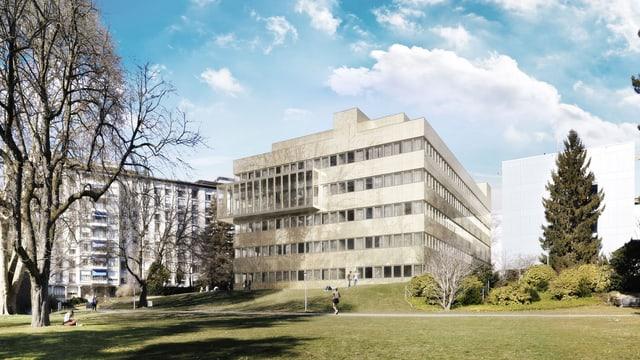 Visualisierung des geplanten, sechsstöckigen Modulbaus im Park des Zürcher Universitätsspitals