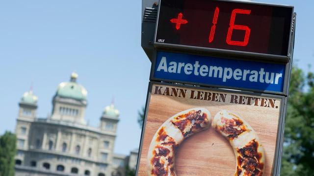 Temperaturanzeige vor dem Bundeshaus