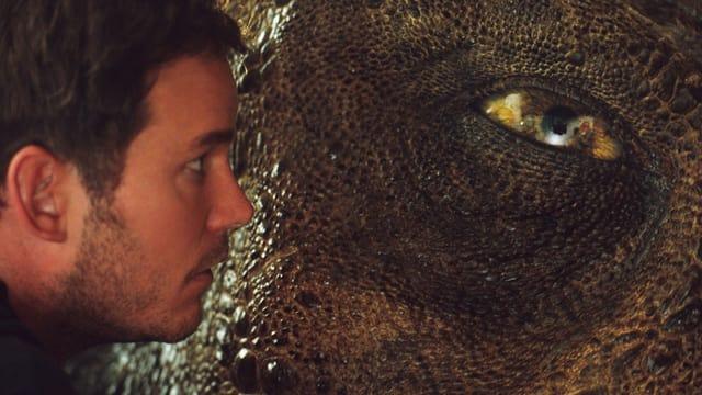 Schauspieler Chris Pratt zu sehen von der Seite, er schaut in ein riesiges Dinosaurer-Auge.