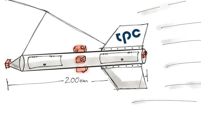 Skizze des Luft-Torpedos, der Träger für die 14 Gopro-Kameras.