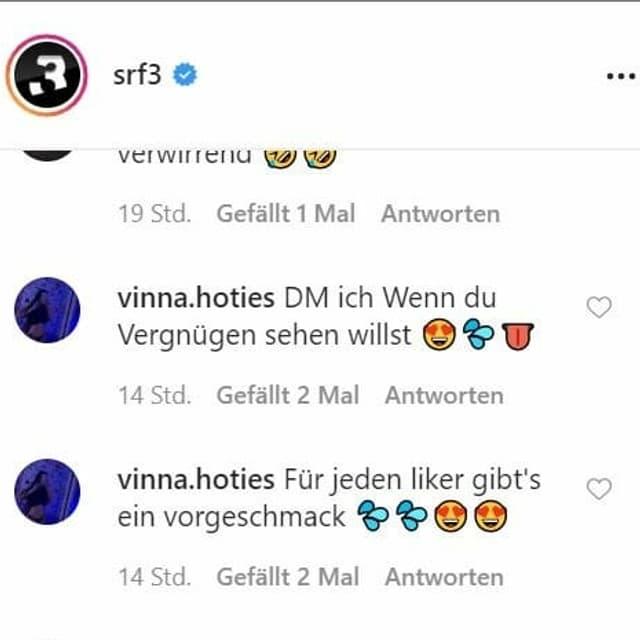 Kommentare auf einen Instagram-Post von Radio SRF 3