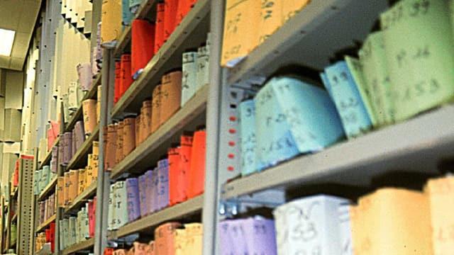 Regale mit farbig verpackten Dokumtenten