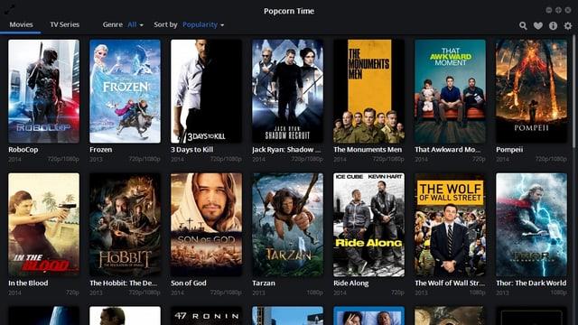 Die Oberfläche des Streaming-Dienstes Popcorn Time mit Titelbildern der angebotenen Filme.