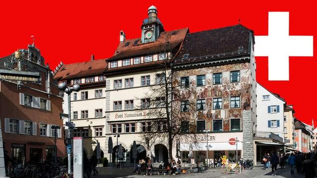 Fotomontage mit Konstanz und Schweizerkreuz.
