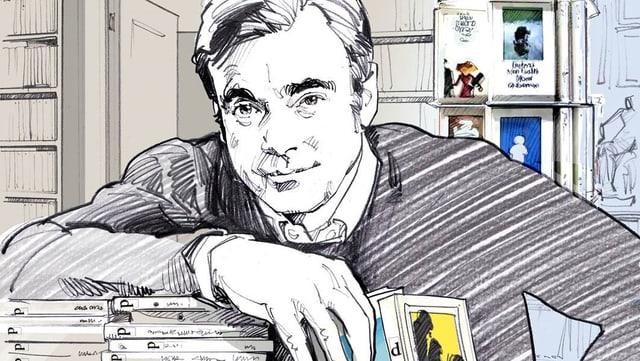 Der Verleger Philipp Keel auf einer Illustration mit Büchern.