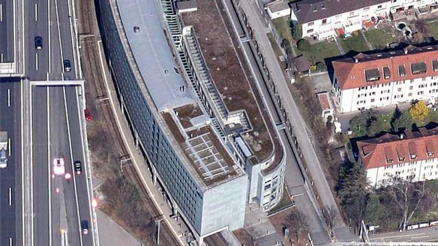 Luftaufnahme des Deza-Gebäudes in Bern.