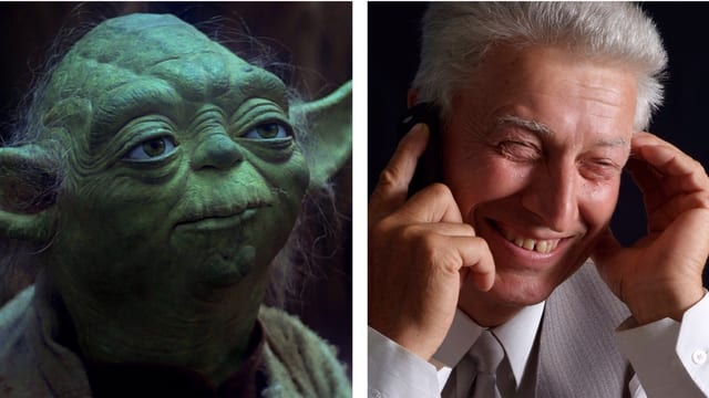 Collage: Yoda und netter älterer Typ am Telefon