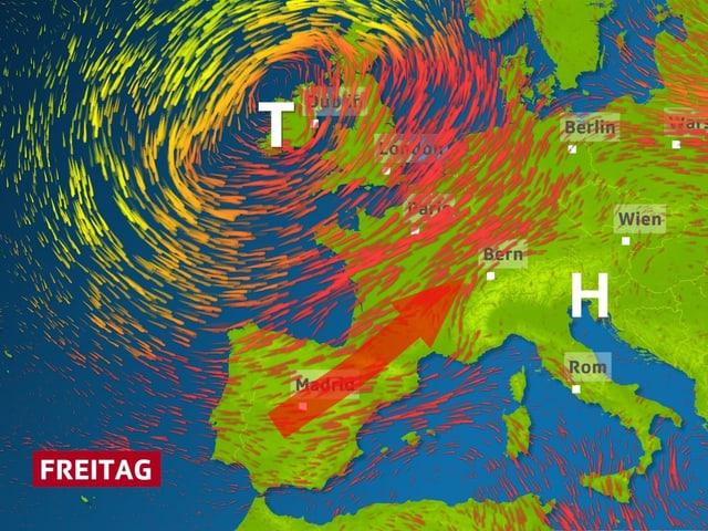 ein Pfeil auf der Europakarte stellt den weg der Hitze zu den Alpen dar.