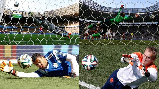 Brasiliens Julio Cesar, Deutschlands Manuel Neuer, der Niederländer Cillessen und der Argentinier Romero (von oben links im Uhrzeigersinn).