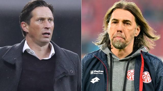 Bayer-Trainer Schmidt und Mainz-Coach Schmidt.