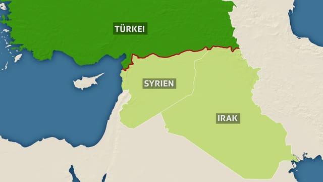 Karte, welche das Grenzgebiet zwischen Türkei, Syrien und Irak zeigt.