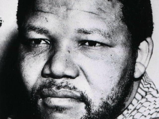 Schwarz-weiss Bild von Mandela