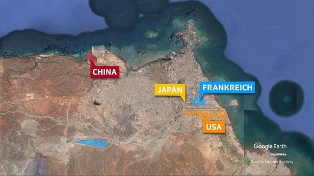 Karte, auf der die Militärbasen Chinas, Japans, Frankreichs und der USA eingetragen sind.