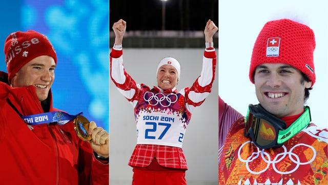 Sorgten für den Schweizer Traum-Tag: Dario Cologna (l.), Selina Gasparin und Sandro Viletta.