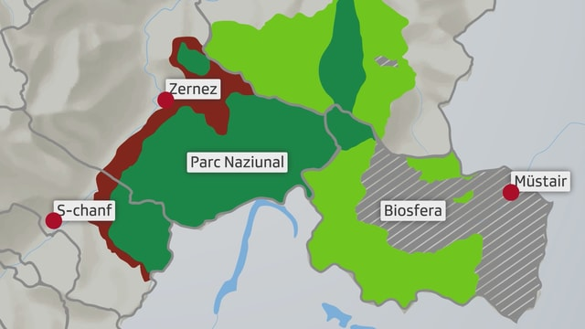 La survista da la zona circundanta enturn il Parc Naziunal Svizzer, cotschen Zernez e S-chanf