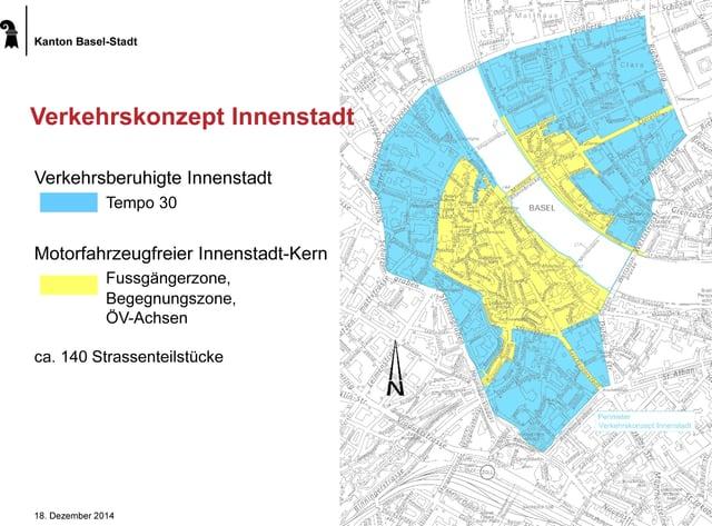 Tempo-30 Zone auf der Karte der Innenstadt von Basel