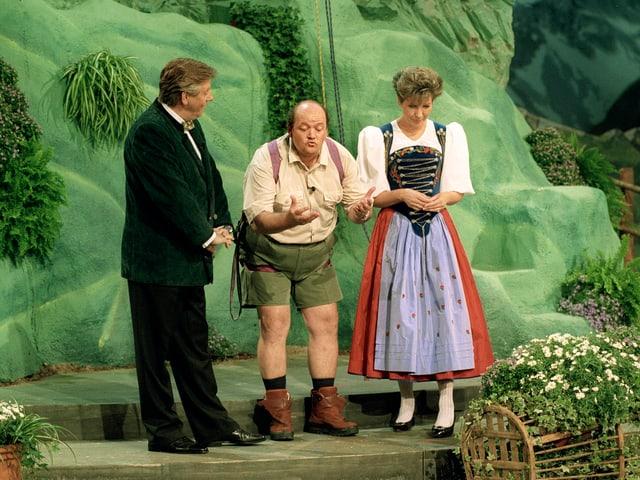 Karl Moik und Sepp Trütsch beim «Grand Prix der Volksmusik» 1997.