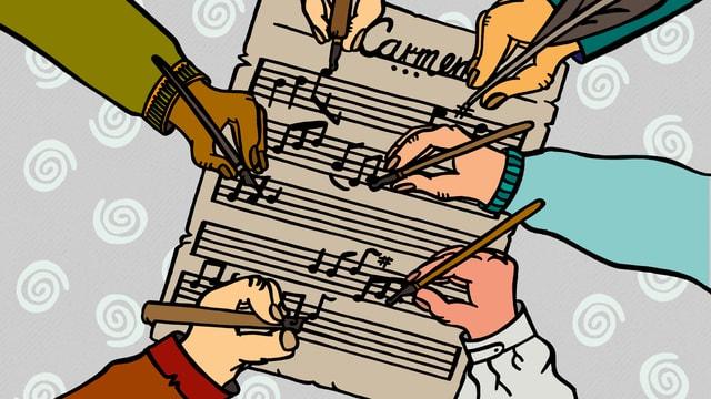 Illustration: mehrere Personen schreiben auf der Partitur zu «Carmen».