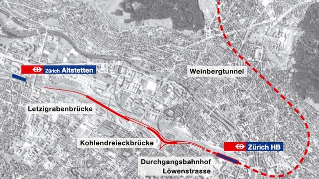 Eine Karte der neuen Durchmesserlinie