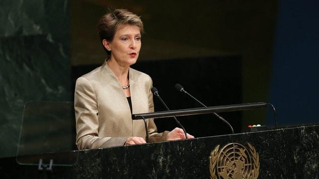 Simmonetta Sommaruga durant ses pled avant la radunanza generala da l'ONU.