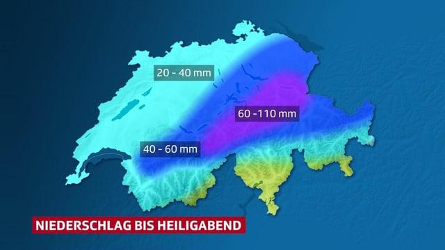Schweizer Karte mit flächiger Darstellung der erwarteten Niederschlagssummen