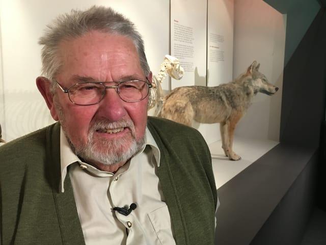 Valentin Jäggi steht im Ausstellungsraum des Naturmuseums Olten, im Hintergrund ausgestellt ist der Wolf von Hägendorf.