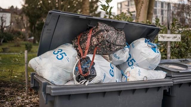 Viele Abfallsäcke in Container