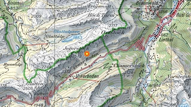 Das Epizentrum des Bebens zwischen Linthal (GL) und Klausenpass.