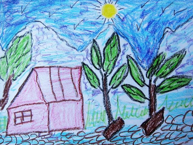 Zeichnung eines Hauses neben Bäumen, im Hintergrund Berge und die Sonne am Himmel.