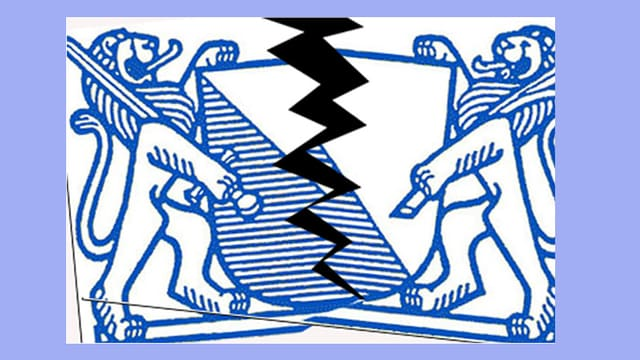 Ein Zürcher Wappen, in der Mitte entzweit