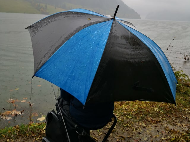 Ein  Mensch mit  einem Schirm, sitzt am Ufer eines Sees, es regnet in strömen.