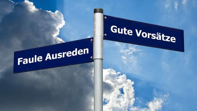 Strassenschild mit Aufschrift «Faule Ausreden» nach links und «Gute Vorsätze» nach rechts