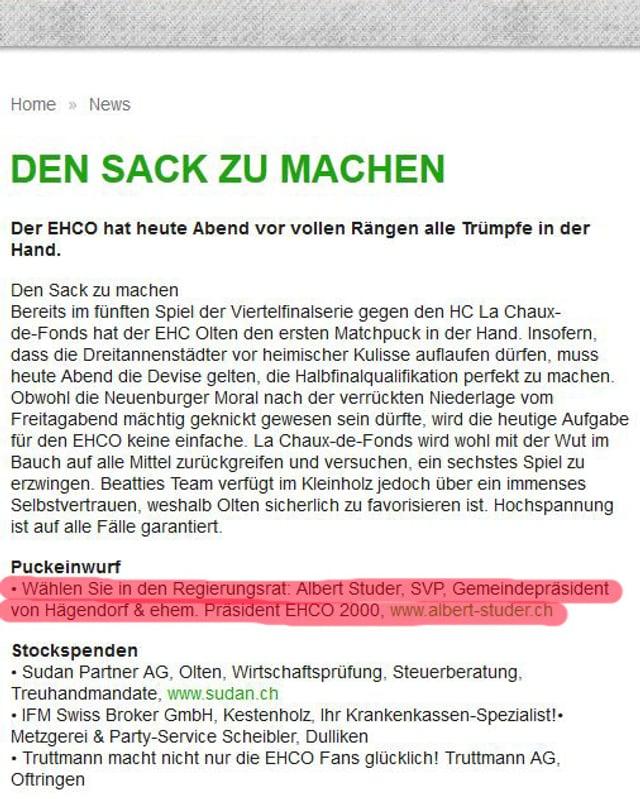 An diversen Orten auf der Internetseite des EHCO finden sich Wahlempfehlungen für die kommenden Solothurner Wahlen.