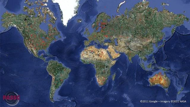 Weltkarte aller bestätigten Einschlagskrater auf der Erde.