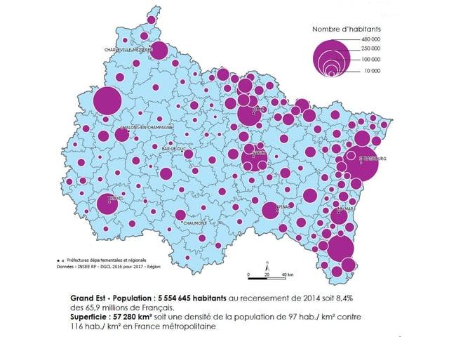 Karte mit lila Kreisen