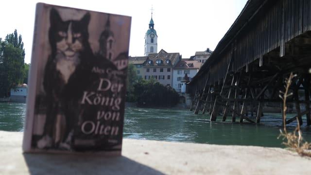 Buch mit Katze auf Umschlag im Vordergrund. Holzbrücke und Alstadt von Olten mit Kirche im Hintergrund.