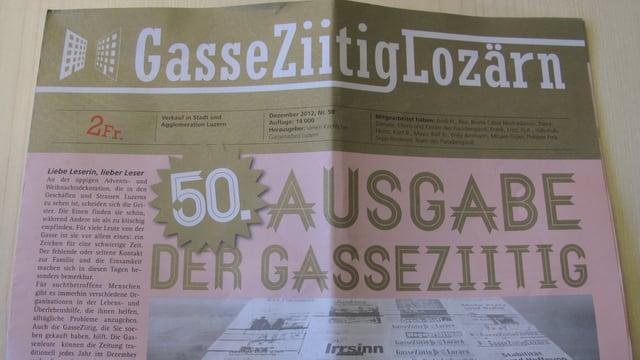 Bild der Jubiläumsausgabe der Luzerner Gassenzeitung