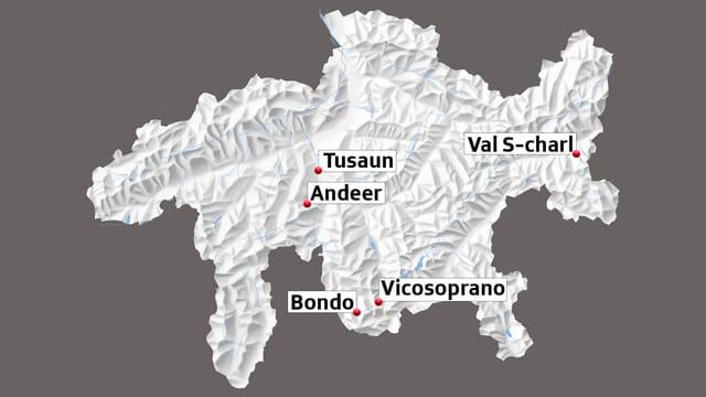 La carta mussa Tusaun, Andeer, Bondo, Vicosoprano e S-charl.