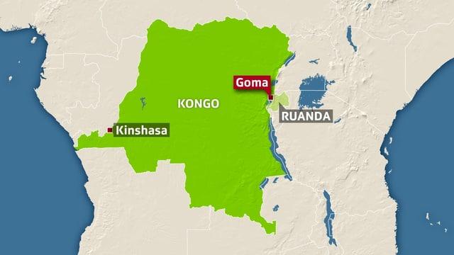 Karte des Kongo mit den eingezeichneten Städten Goma und Kinshasa.