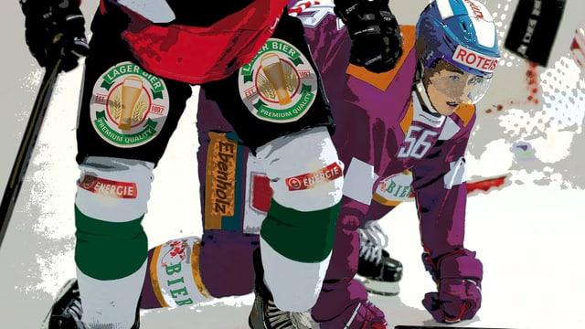 Grafische Darstellung von Eishockeyspielern mit Alkoholwerbung auf dem Dress.