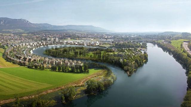Visualisierung eines neuen Wohngebietes an einer künstlichen Flussschaufe aus der Vogelperspektive.