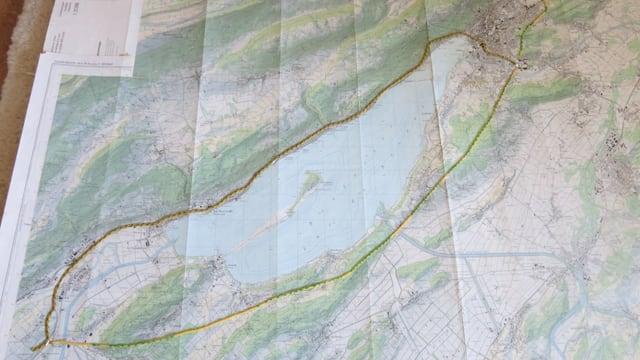 Karte mit dem Bielersee, eingezeichnete Strassenführung