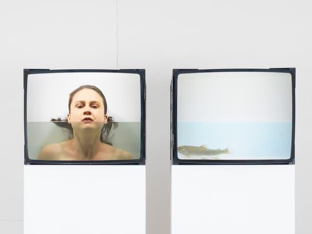 Man sieht zwei Videos. Eines zeigt eine Forelle, das andere Luzia Hürzeler.