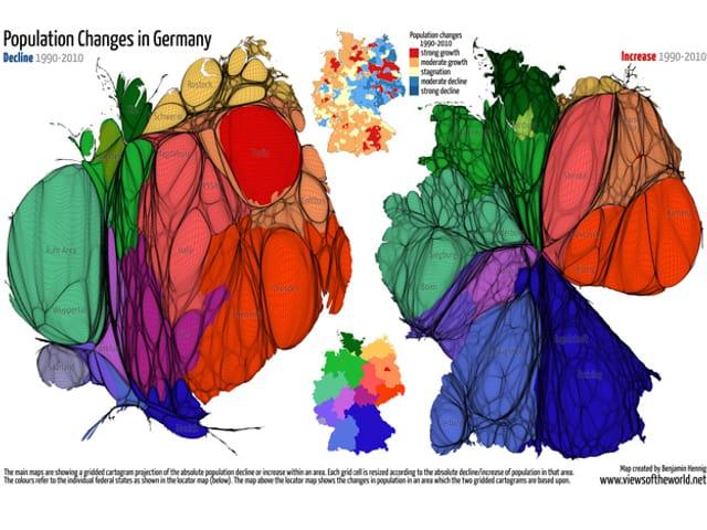 Drei Karten zeigen die Veränderungen der Bevölkerungsdichte in Deutschland von 1990 bis 2010.
