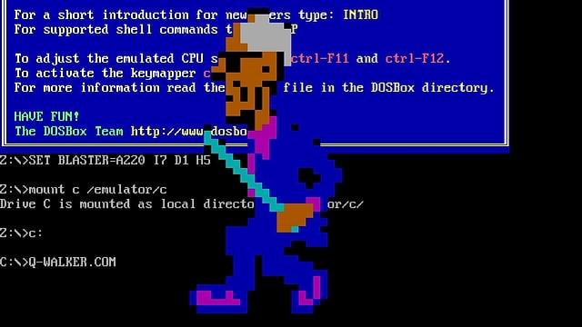 Eine Figur spaziert plötzlich über den Bildschirm