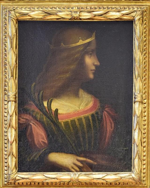 Eine Malerei einer Frau im Profil.